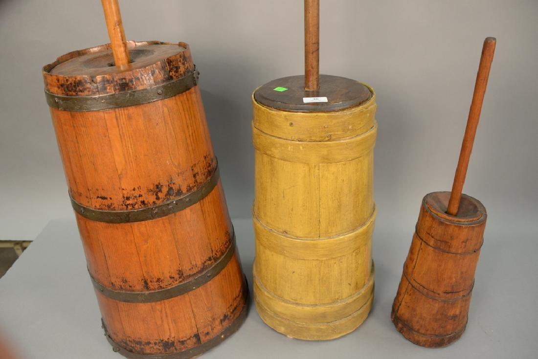 Three primitive butter churns, ht - 3