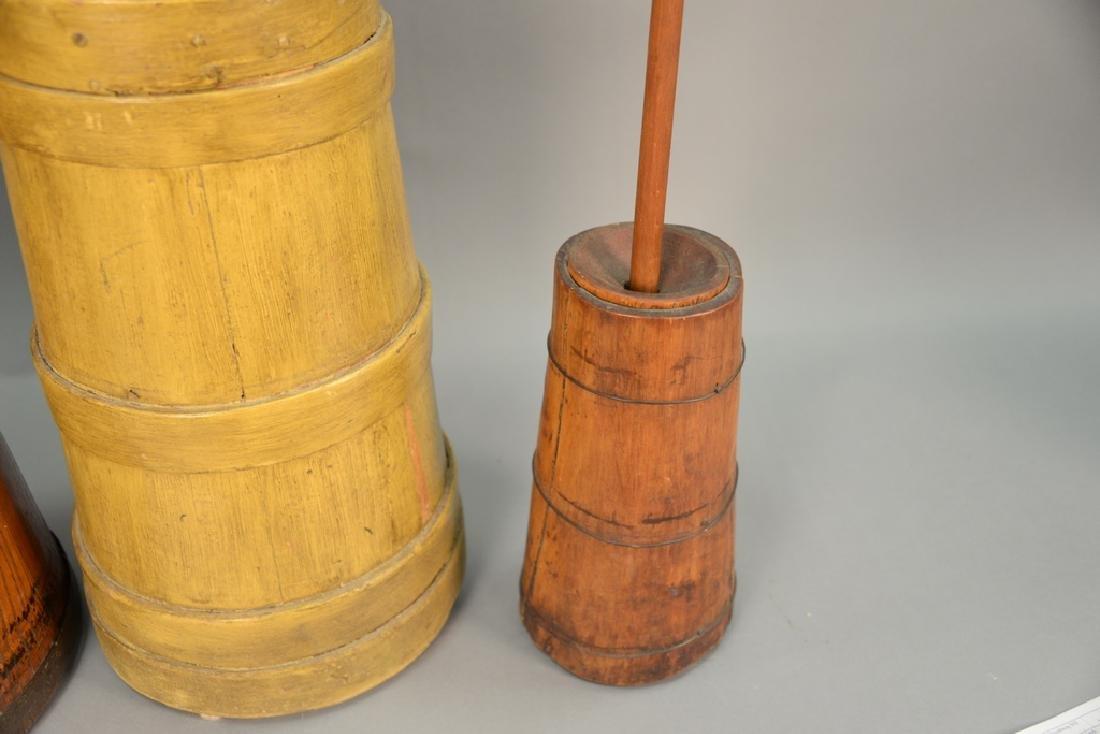 Three primitive butter churns, ht - 4