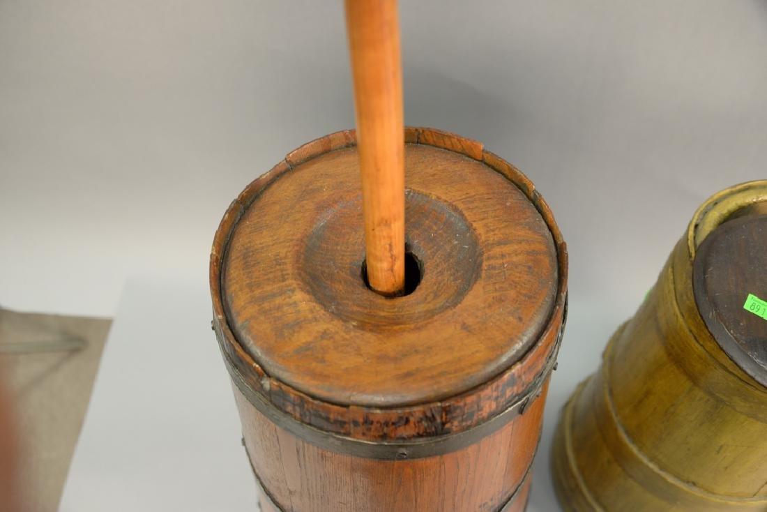 Three primitive butter churns, ht - 5