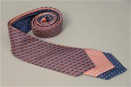 Assorted group of three Hermes silk ties with anchor