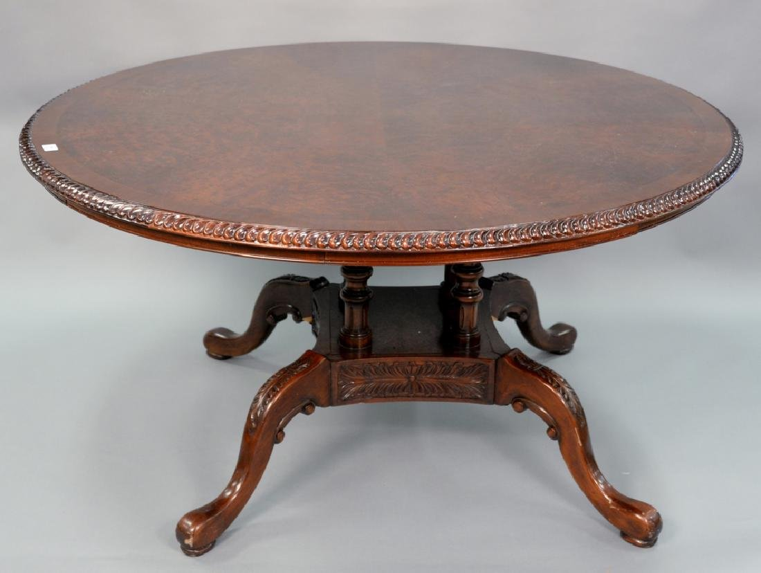 Contemporary round burlwood table (pedestal as is).