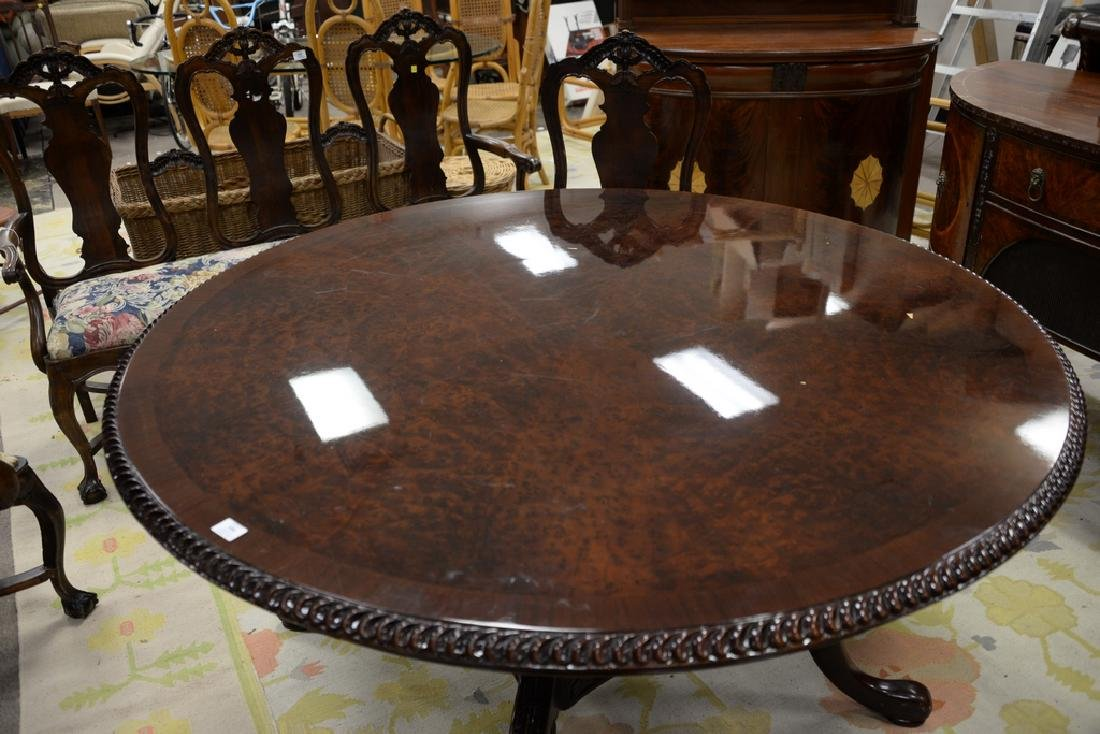Contemporary round burlwood table (pedestal as is). - 2