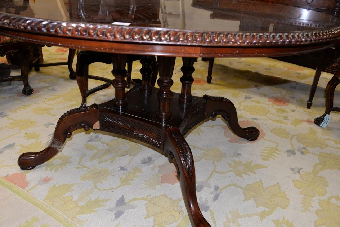 Contemporary round burlwood table (pedestal as is). - 3