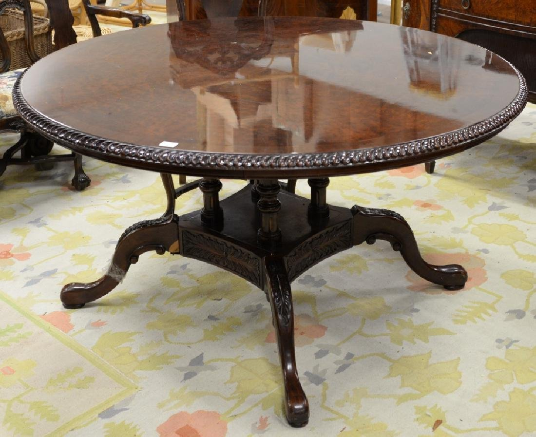 Contemporary round burlwood table (pedestal as is). - 4