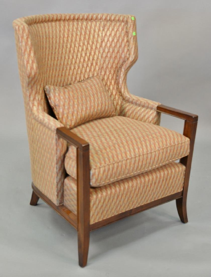 Baker contemporary upholstered barrel back armchair.