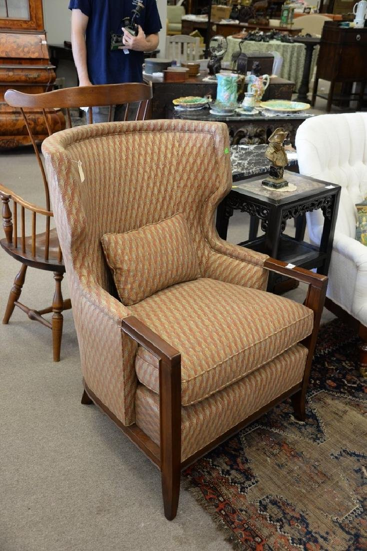 Baker contemporary upholstered barrel back armchair. - 2