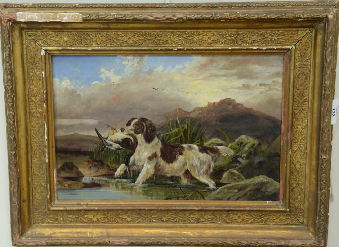 Duck hunt oil on canvas, Setter with Mallard, unsigned,