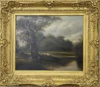 19th century oil on canvas landscape sitting under the