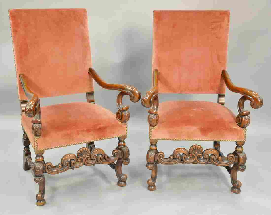 Pair of Continental style armchairs.