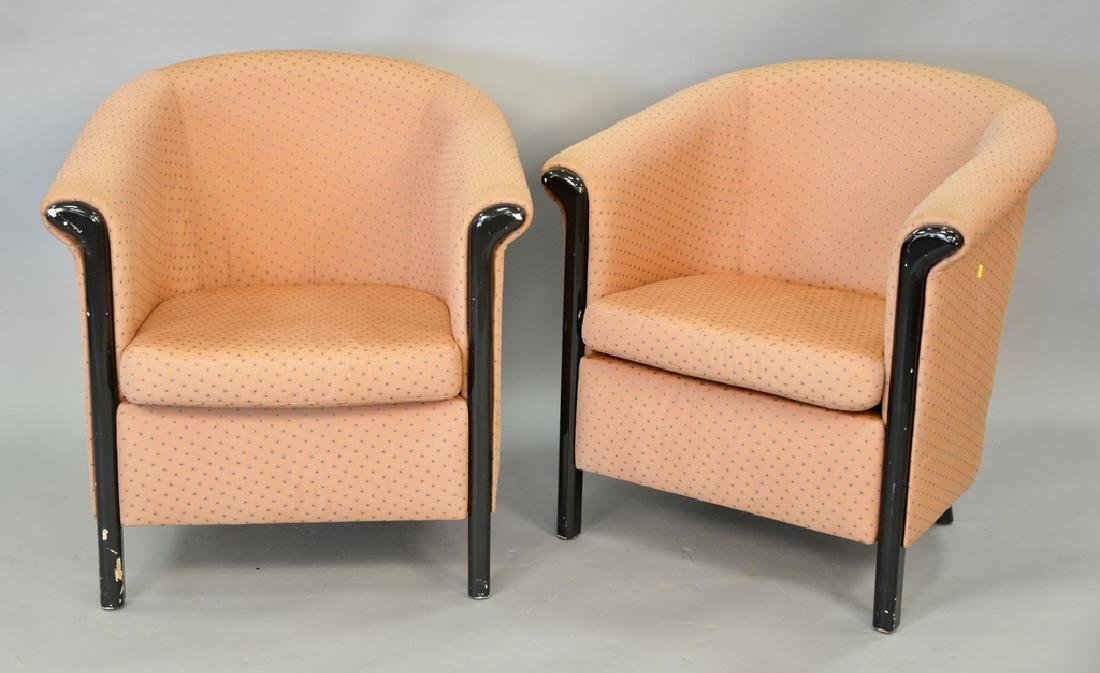 Pair upholstered club chairs.