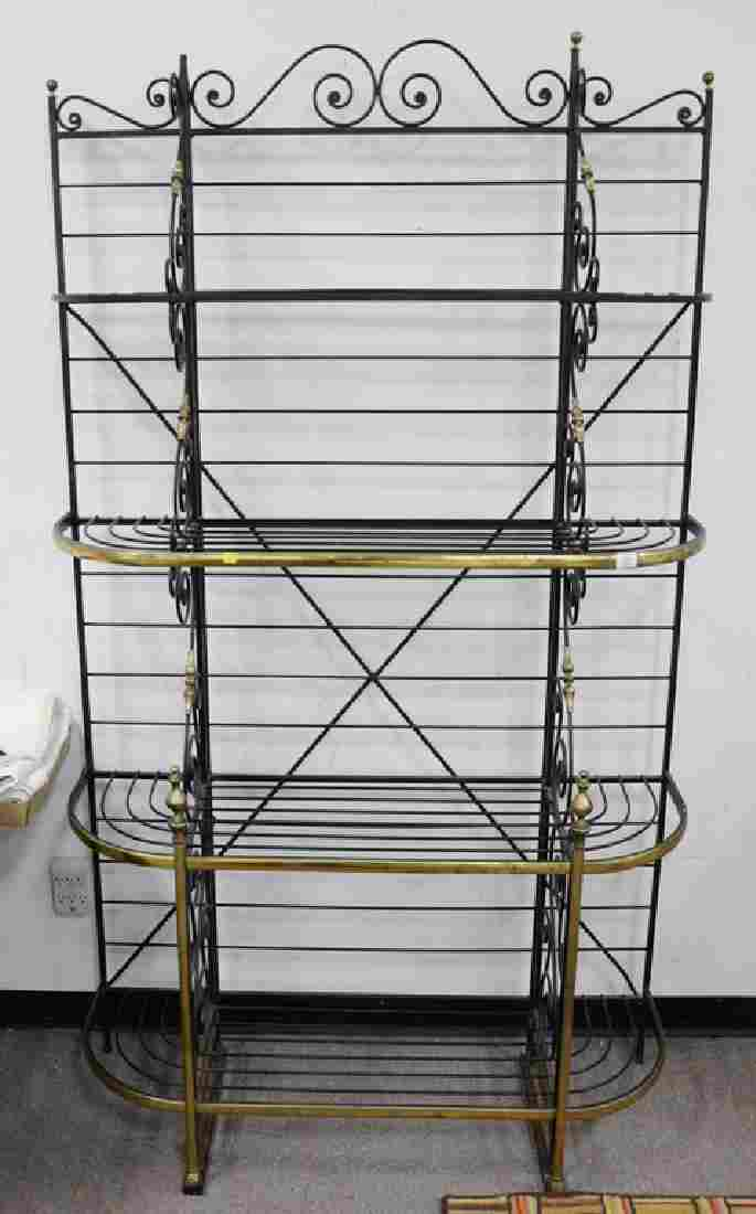 Iron and brass bakers rack. ht. 84in., wd. 50in.
