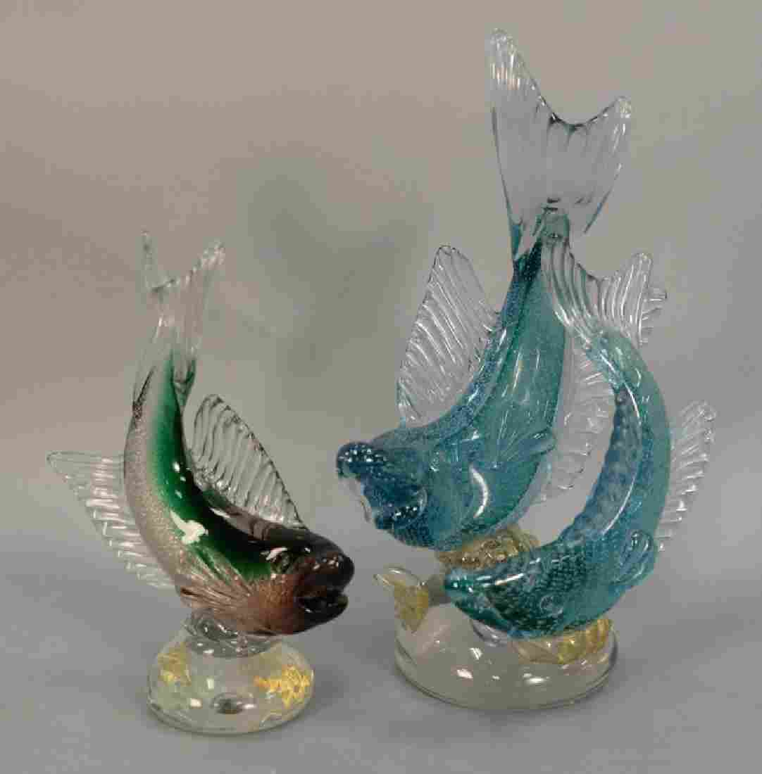 Two large Murano fish including a double Alfredo