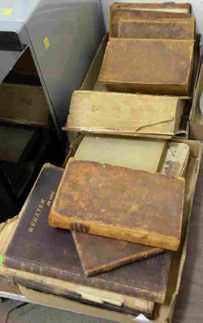 Group of leather bound books to include Webster an Ode,