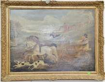19th20th century oil on canvas Fox Hunt Going Wrong