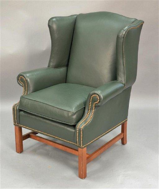 Fantastic Ethan Allen Green Leather Upholstered Wing Chair Short Links Chair Design For Home Short Linksinfo