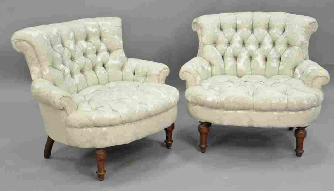 Pair of Victorian tufted upholstered boudoir chairs.