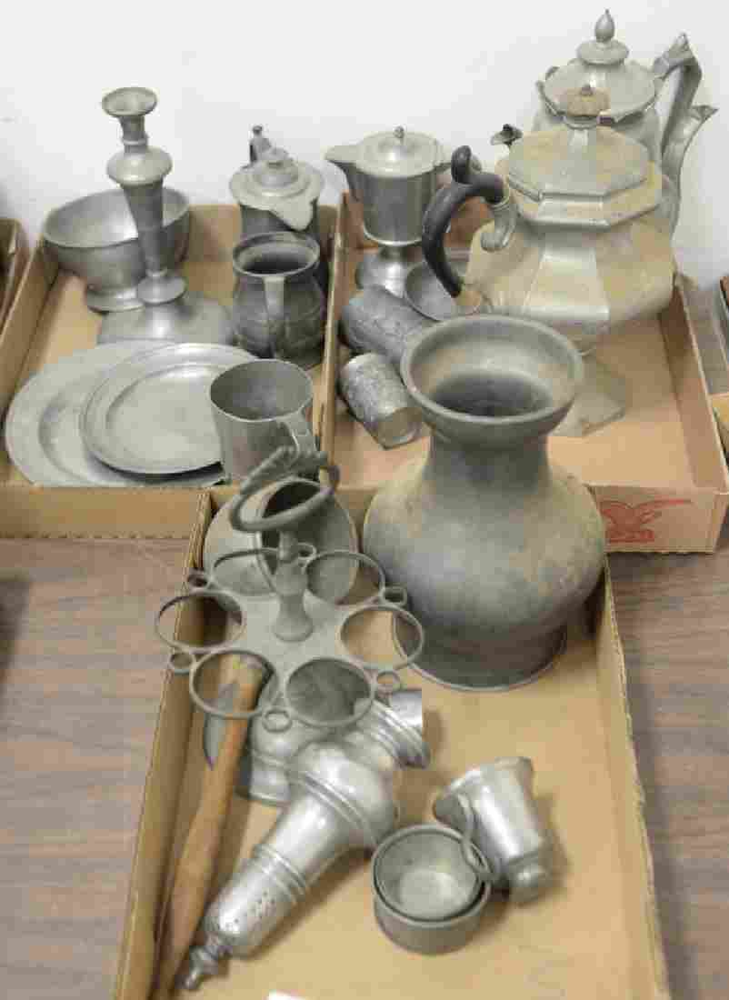 Three box lots of pewter to include coffee pots, trays,