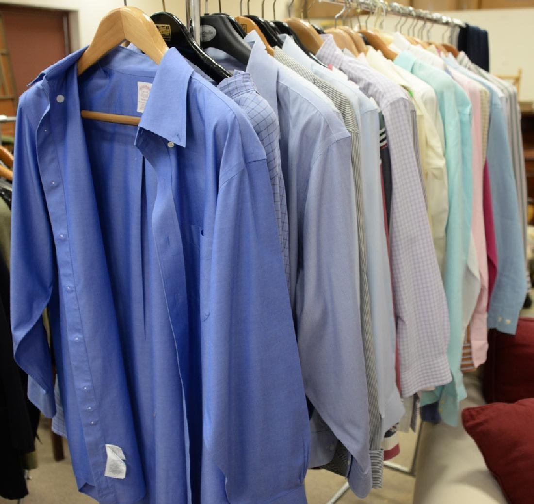 Rack of mens button down shirts including Polo, Brooks
