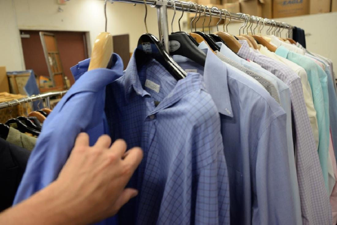 Rack of mens button down shirts including Polo, Brooks - 2