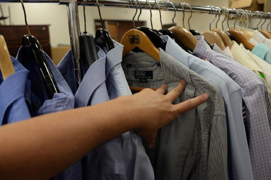 Rack of mens button down shirts including Polo, Brooks - 3