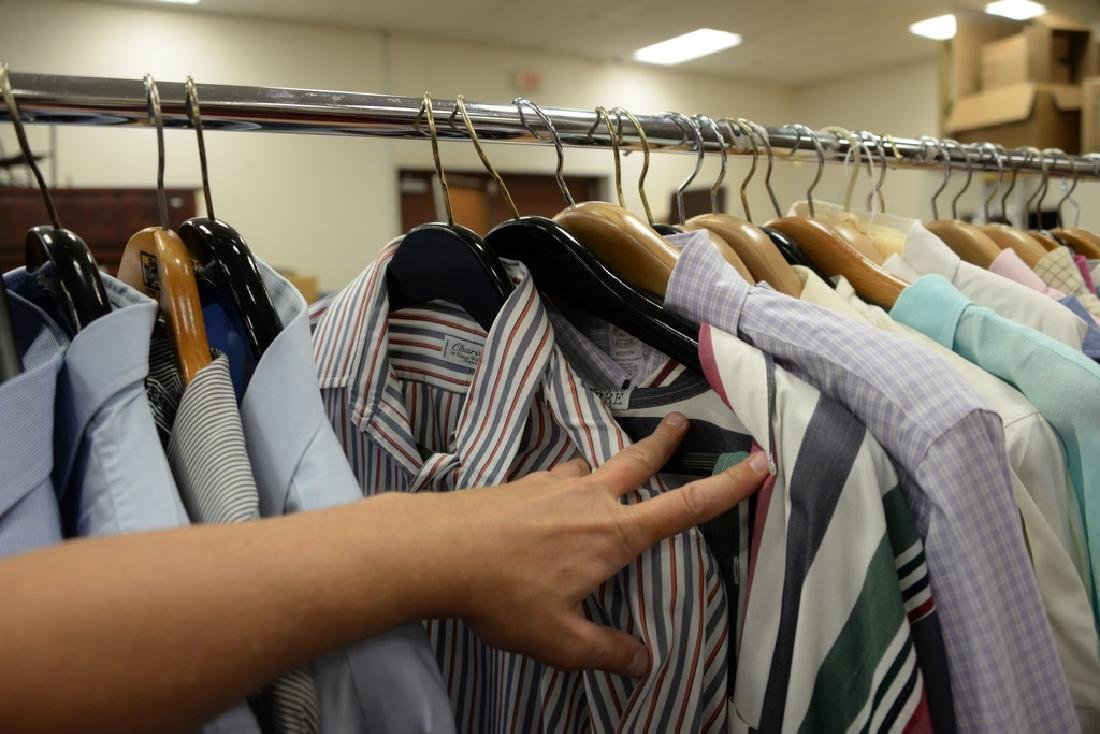 Rack of mens button down shirts including Polo, Brooks - 4