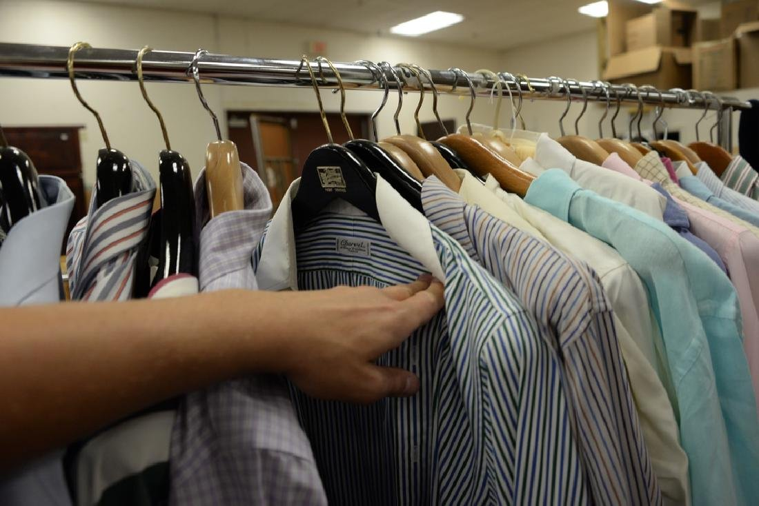 Rack of mens button down shirts including Polo, Brooks - 5