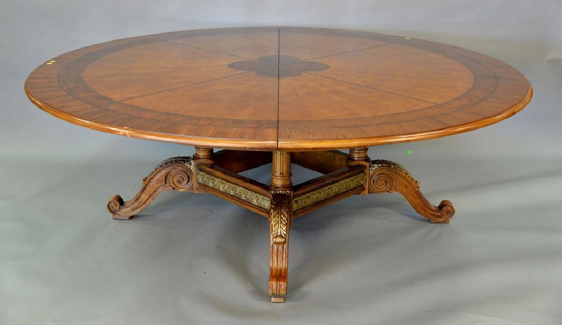 Contemporary round inlaid top table on center pedestal