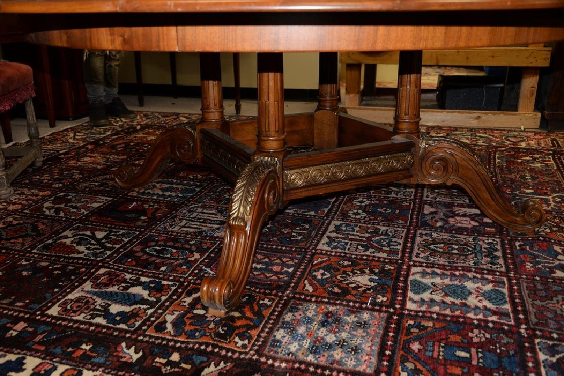 Contemporary round inlaid top table on center pedestal - 3
