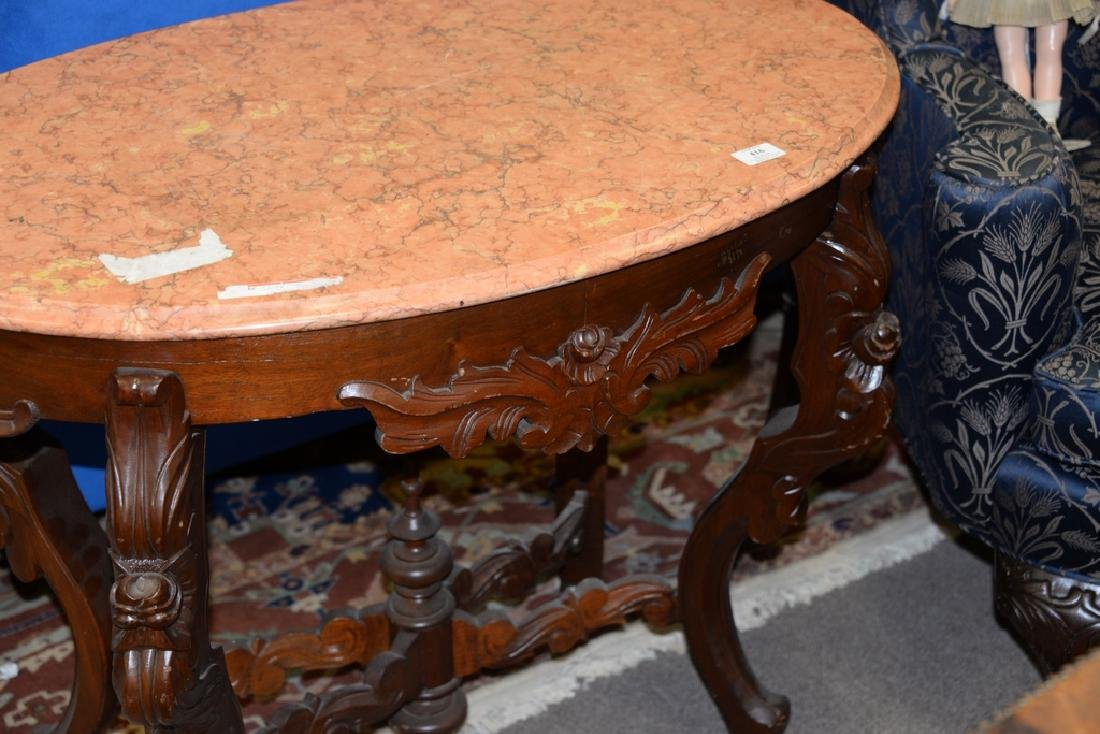 Victorian oval marble top center table with light rouge - 3