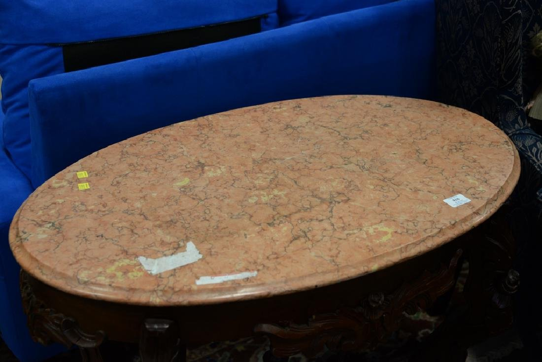 Victorian oval marble top center table with light rouge - 5