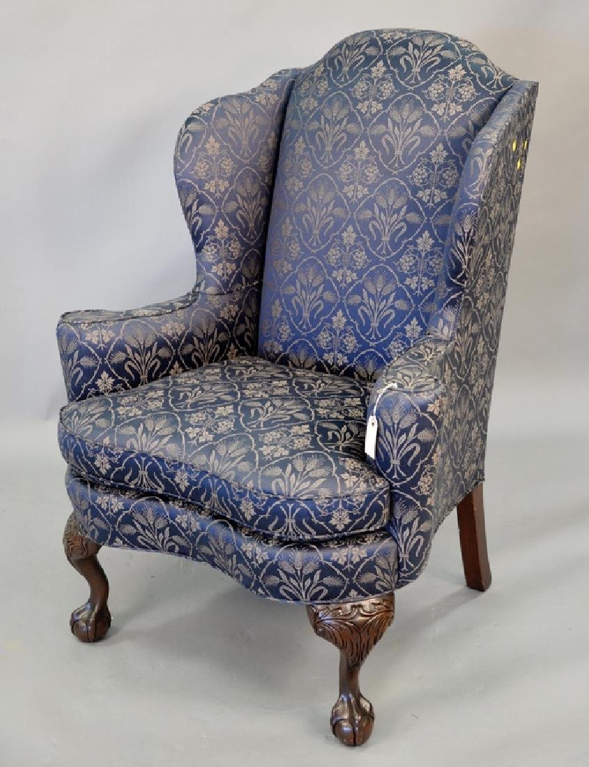 Sherril Chippendale style wing chair with ball and claw