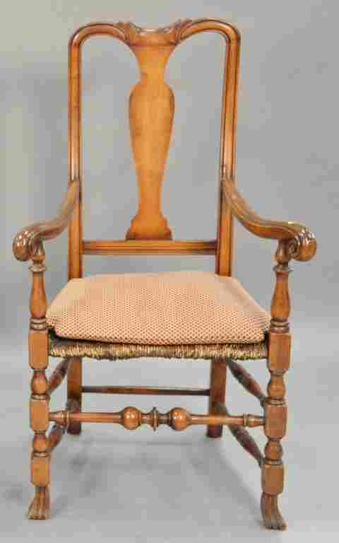Queen Anne style great chair with rush seat.