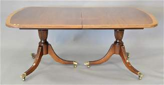 Ethan Allen custom mahogany dining table with banded in