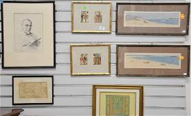 Eight piece framed group to include Charles Bragg