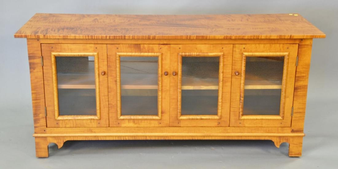 Custom Tiger Maple TV Cabinet, Signed On Reverse Youngs