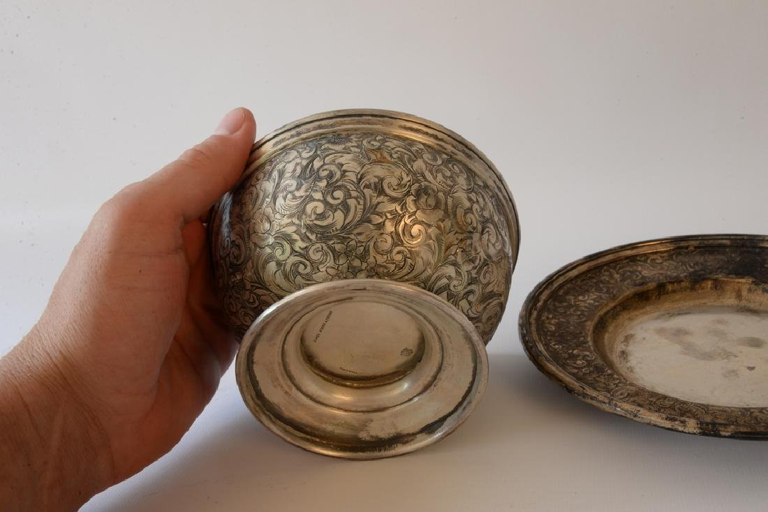 Black Starr and Frost silver footed bowl  and - 2