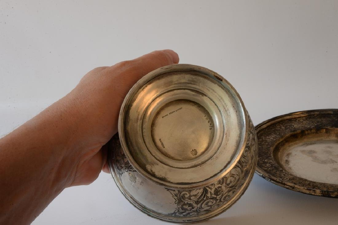 Black Starr and Frost silver footed bowl  and - 3
