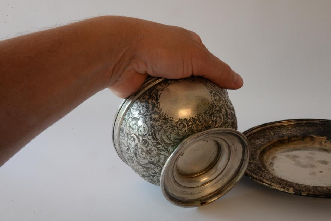 Black Starr and Frost silver footed bowl  and - 4