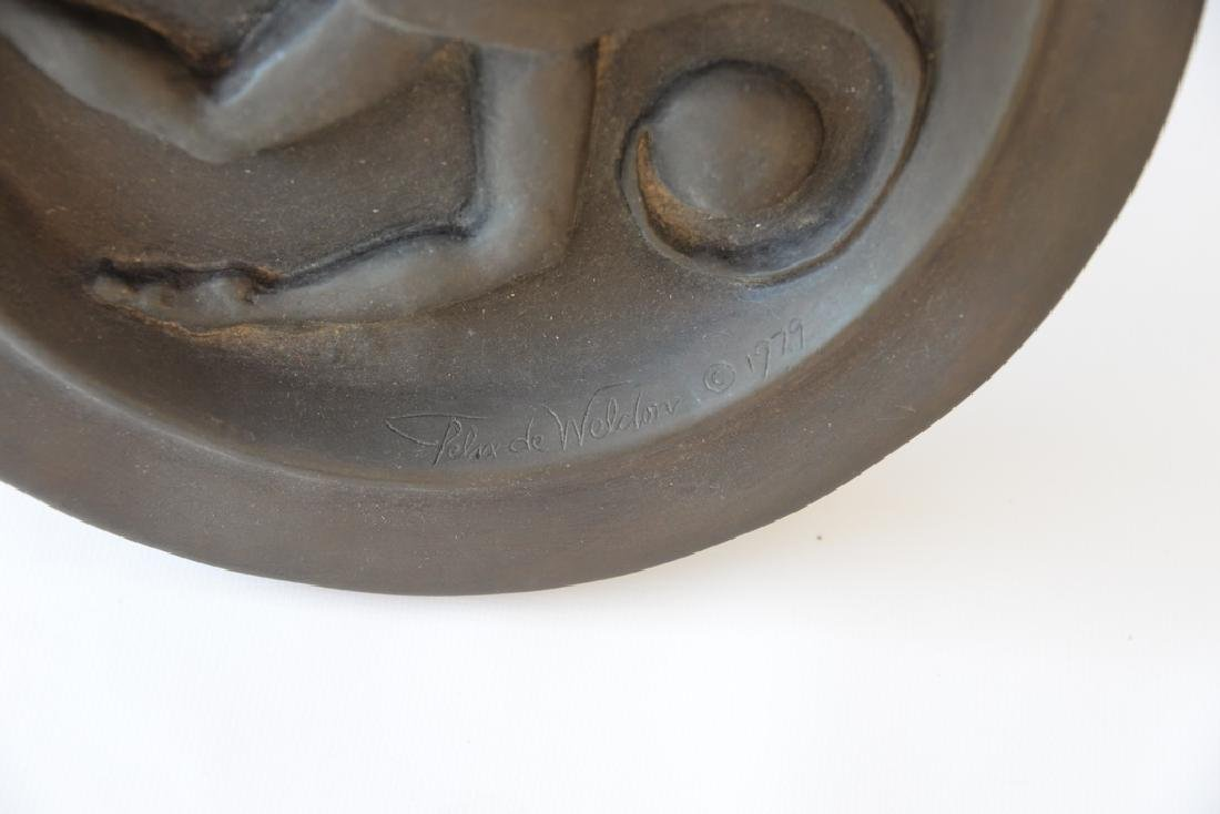 Bronze disk with classical three dimensional figure, - 2