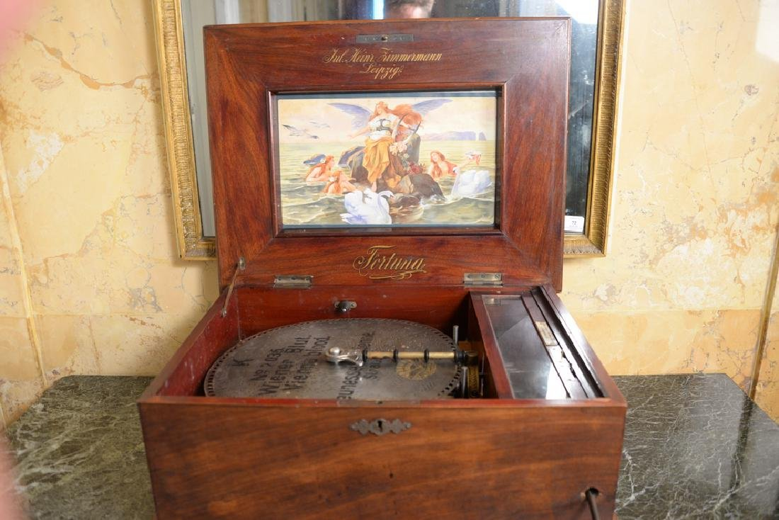 Leipzig disc music box in working condition with double - 3