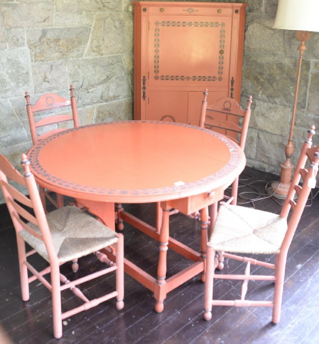 Five piece red painted set including