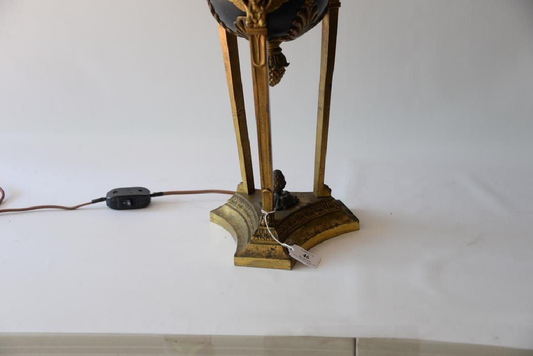 Bronze and gilt bronze urn made into a table lamp (shad - 3