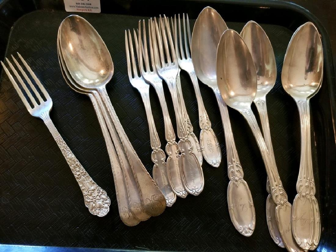 Tray lot of silver flatware to include five matching