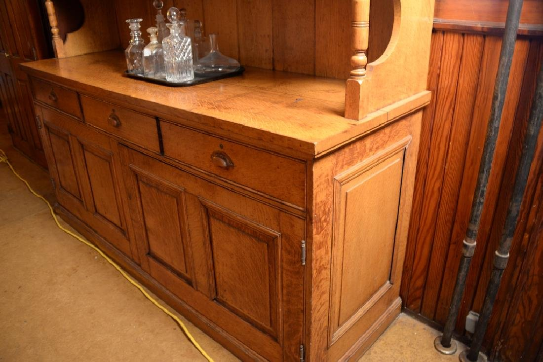 Large oak sideboard with three door top.  height 90 - 2