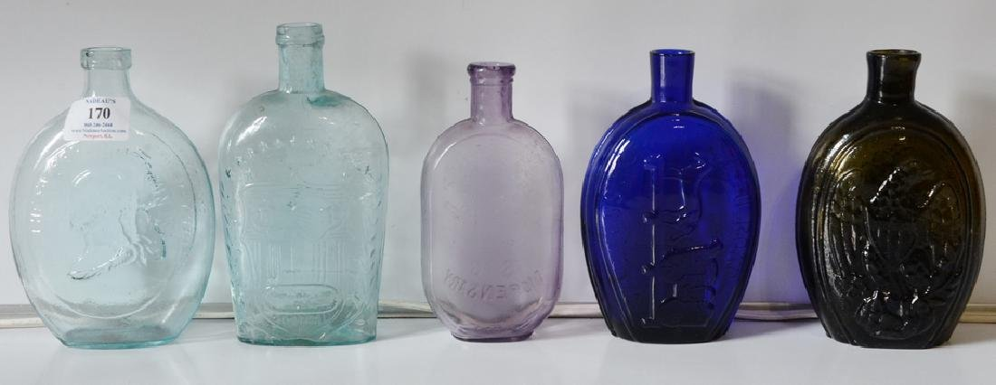 Group of five flasks cornucopia eagle flask, three repr