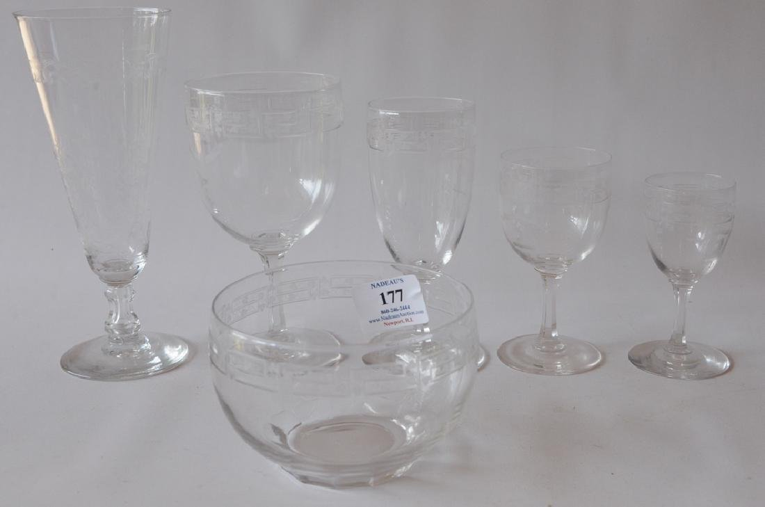 """188 piece Crystal service, monogrammed """"B"""" with Brown"""