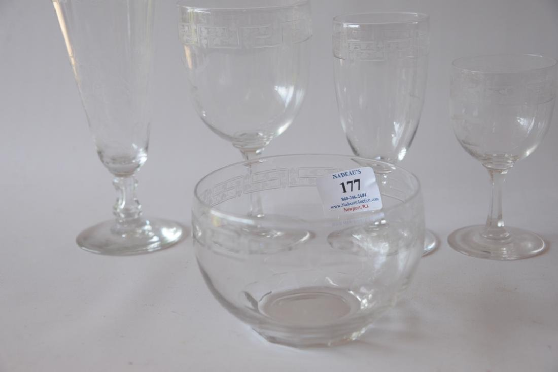 """188 piece Crystal service, monogrammed """"B"""" with Brown - 2"""
