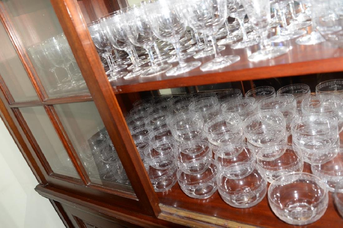 """188 piece Crystal service, monogrammed """"B"""" with Brown - 8"""