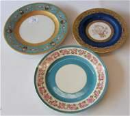 Set of three porcelain plates set of eleven Black