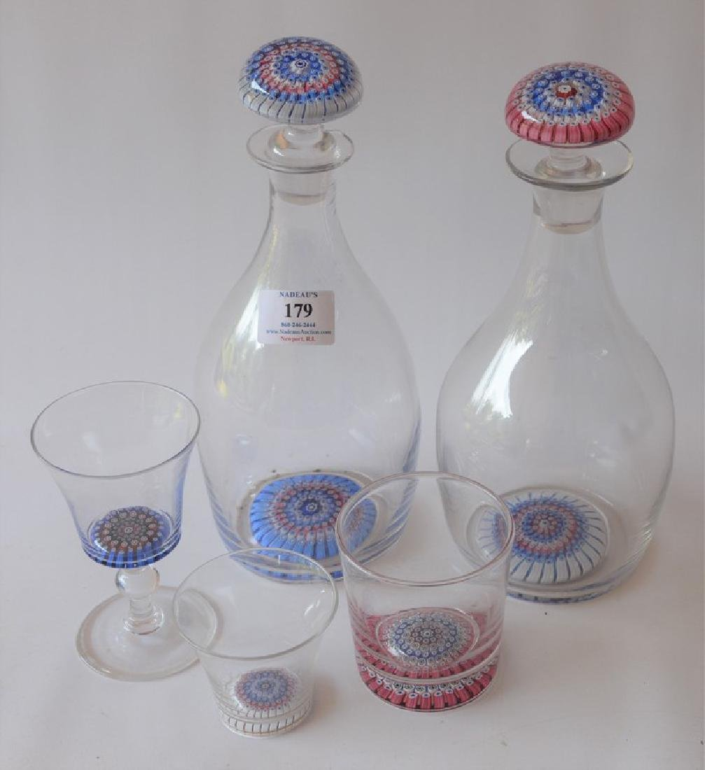 Forty-one piece millefiori cocktail crystal set having